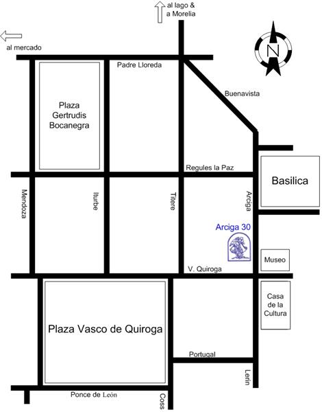 Mapa de ubicacion de Galerias del Arcangel en Patzcuaro.